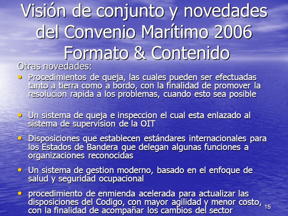 Visión de conjunto y novedades del Convenio Marítimo 2006 Formato & Contenido