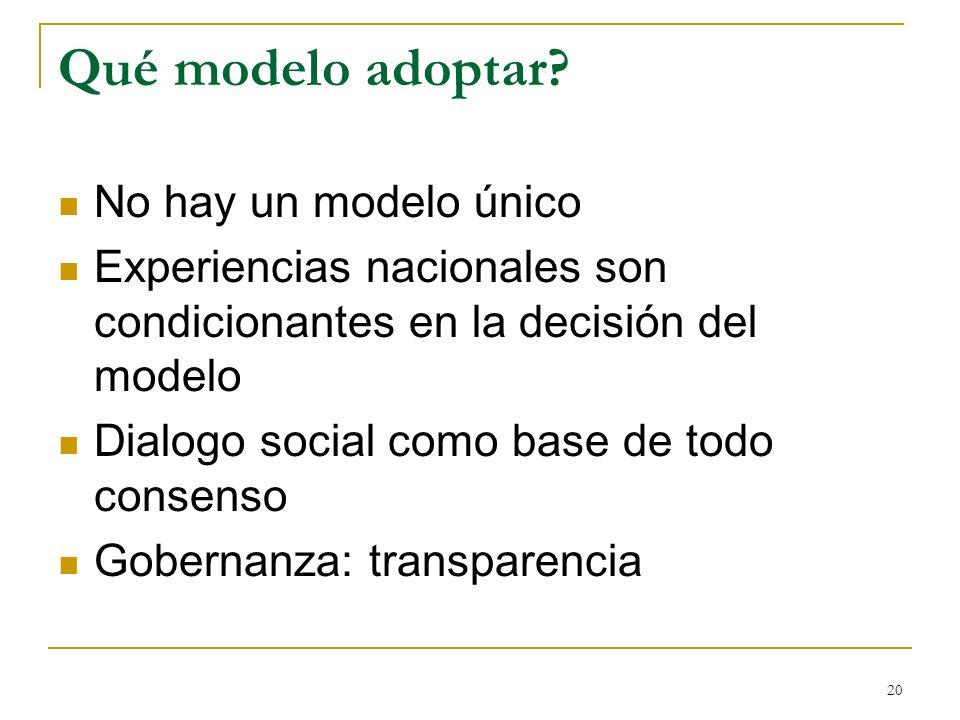 Qué modelo adoptar No hay un modelo único