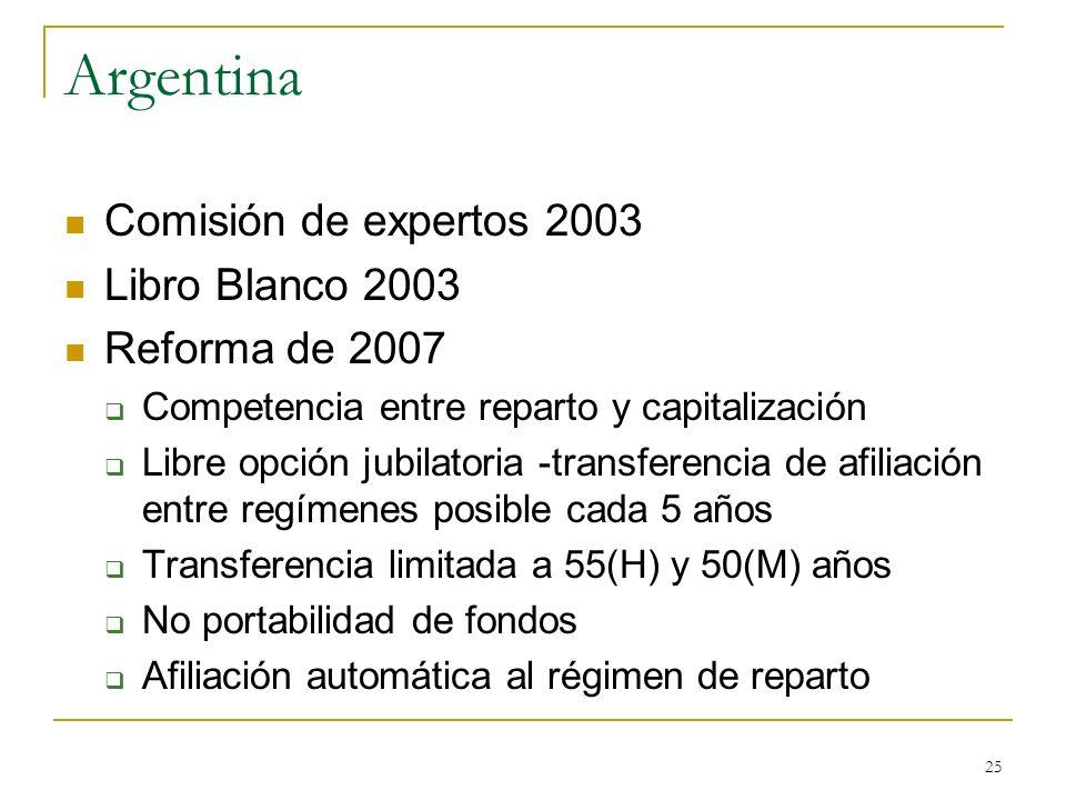 Argentina Comisión de expertos 2003 Libro Blanco 2003 Reforma de 2007
