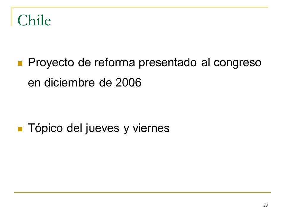 Chile Proyecto de reforma presentado al congreso en diciembre de 2006