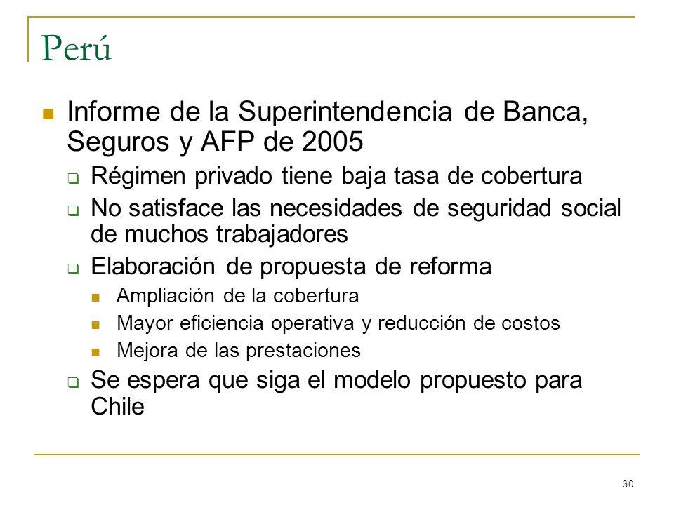 Perú Informe de la Superintendencia de Banca, Seguros y AFP de 2005