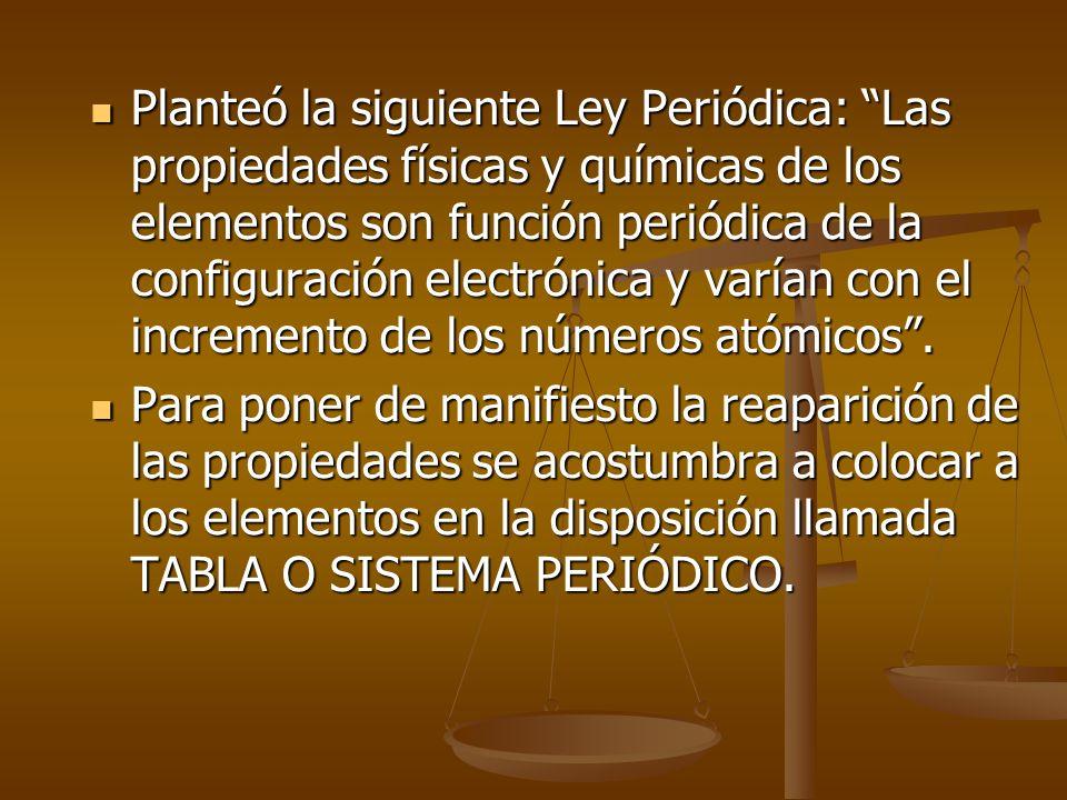Planteó la siguiente Ley Periódica: Las propiedades físicas y químicas de los elementos son función periódica de la configuración electrónica y varían con el incremento de los números atómicos .