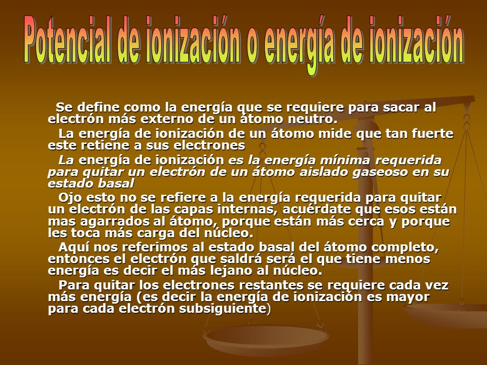 Potencial de ionización o energía de ionización