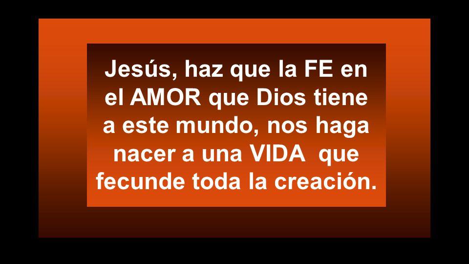 Jesús, haz que la FE en el AMOR que Dios tiene a este mundo, nos haga nacer a una VIDA que fecunde toda la creación.