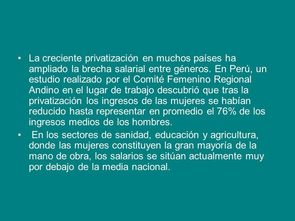 La creciente privatización en muchos países ha ampliado la brecha salarial entre géneros. En Perú, un estudio realizado por el Comité Femenino Regional Andino en el lugar de trabajo descubrió que tras la privatización los ingresos de las mujeres se habían reducido hasta representar en promedio el 76% de los ingresos medios de los hombres.