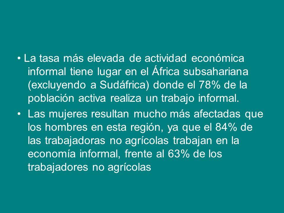 • La tasa más elevada de actividad económica informal tiene lugar en el África subsahariana (excluyendo a Sudáfrica) donde el 78% de la población activa realiza un trabajo informal.