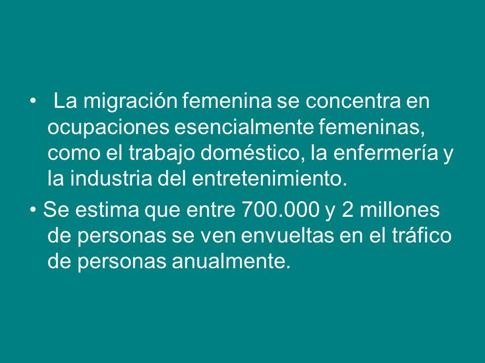 La migración femenina se concentra en ocupaciones esencialmente femeninas, como el trabajo doméstico, la enfermería y la industria del entretenimiento.