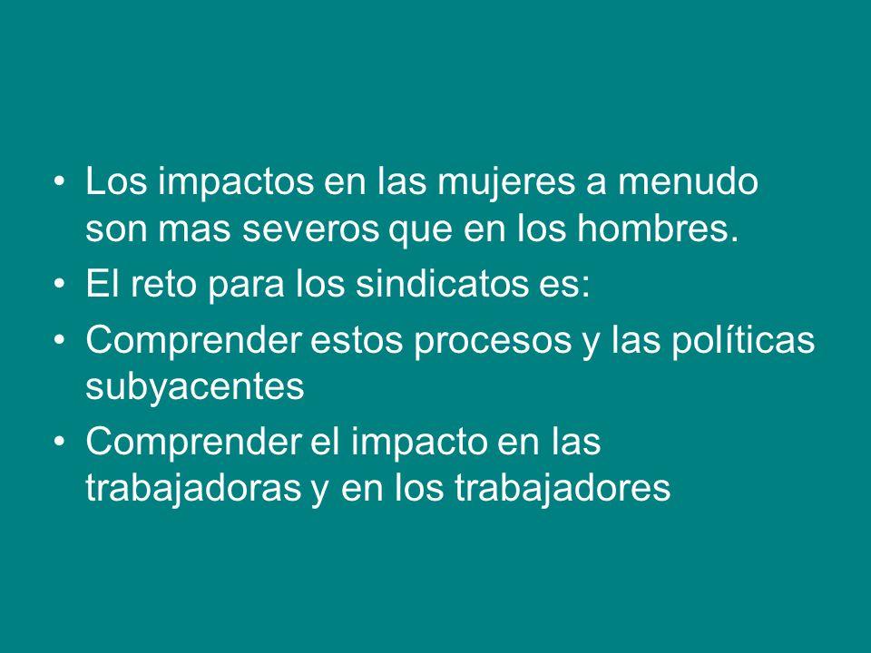 Los impactos en las mujeres a menudo son mas severos que en los hombres.