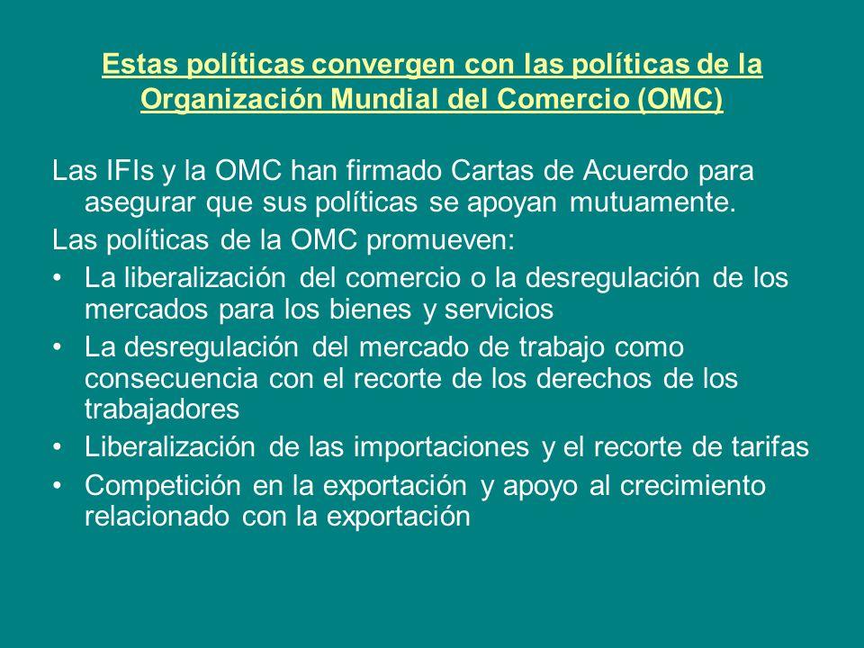 Estas políticas convergen con las políticas de la Organización Mundial del Comercio (OMC)