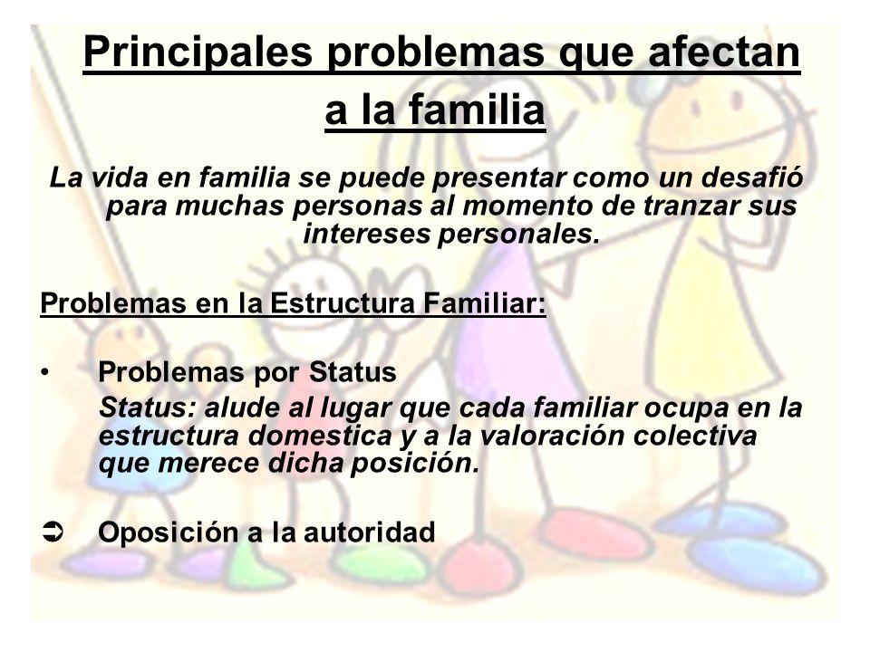 Principales problemas que afectan a la familia