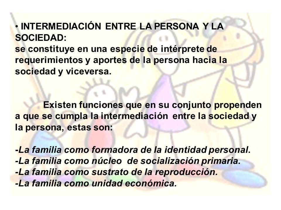INTERMEDIACIÓN ENTRE LA PERSONA Y LA SOCIEDAD: