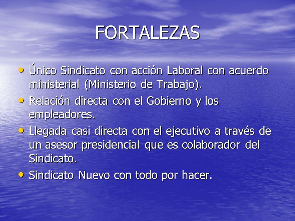 FORTALEZAS Único Sindicato con acción Laboral con acuerdo ministerial (Ministerio de Trabajo). Relación directa con el Gobierno y los empleadores.