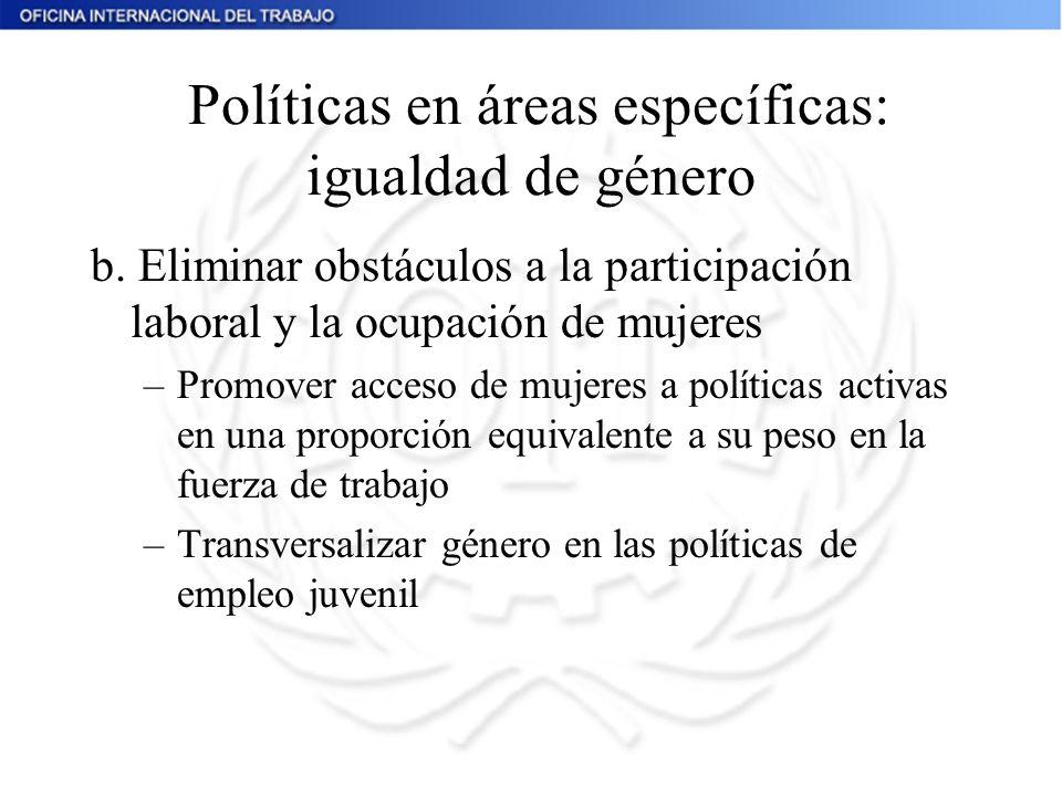 Políticas en áreas específicas: igualdad de género
