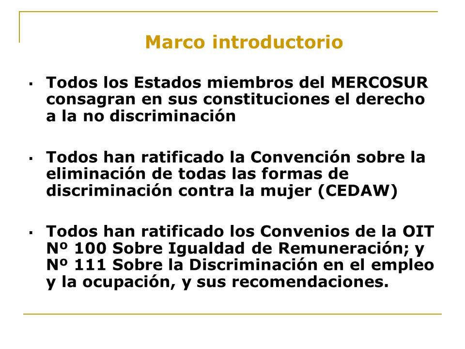 Marco introductorio Todos los Estados miembros del MERCOSUR consagran en sus constituciones el derecho a la no discriminación.