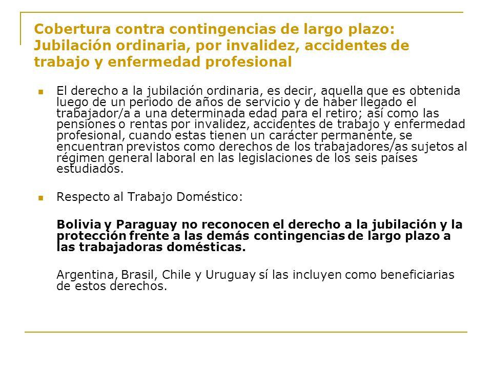 Cobertura contra contingencias de largo plazo: Jubilación ordinaria, por invalidez, accidentes de trabajo y enfermedad profesional