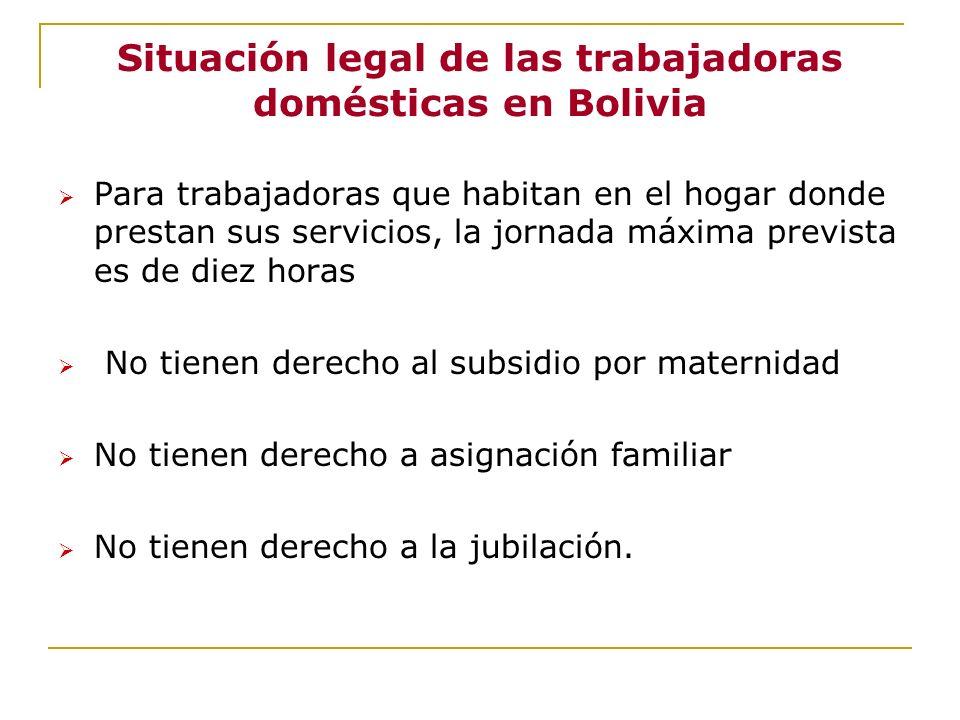 Situación legal de las trabajadoras domésticas en Bolivia