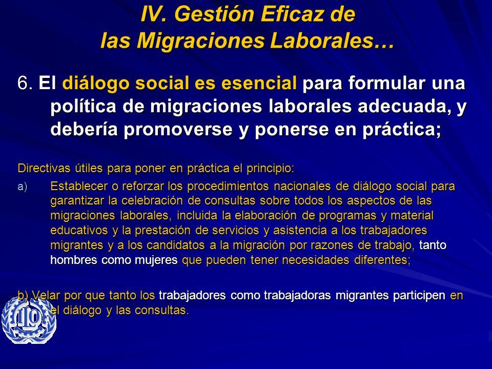 IV. Gestión Eficaz de las Migraciones Laborales…