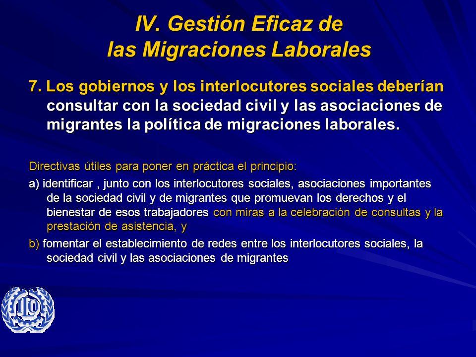 IV. Gestión Eficaz de las Migraciones Laborales