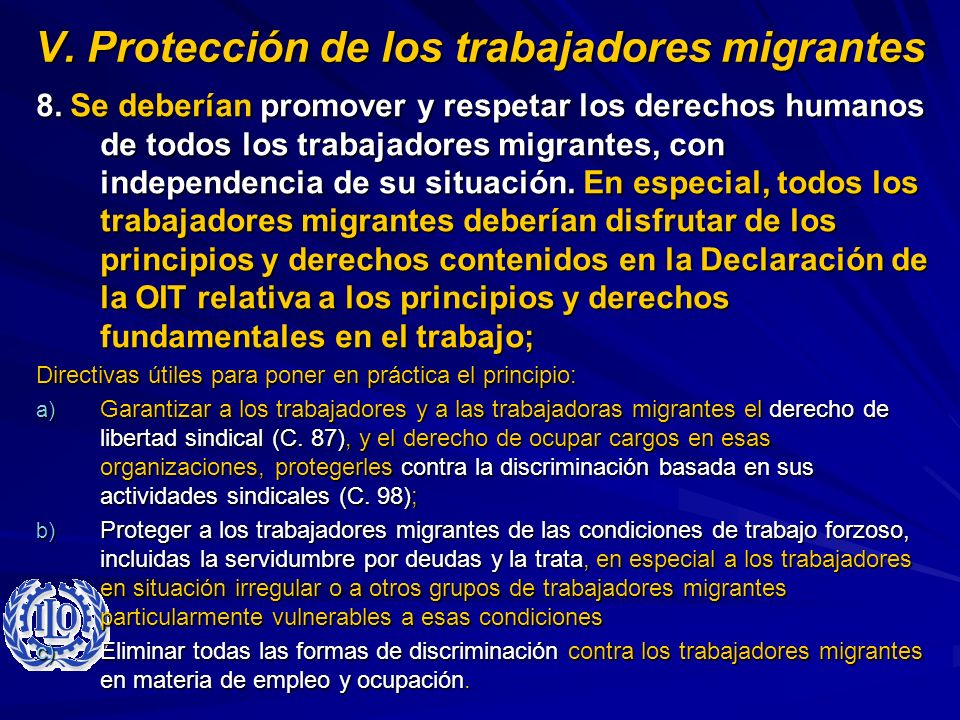 V. Protección de los trabajadores migrantes