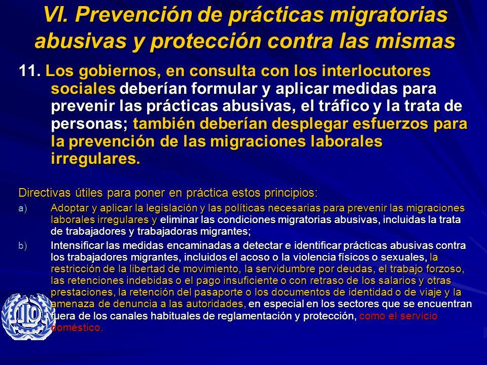 VI. Prevención de prácticas migratorias abusivas y protección contra las mismas
