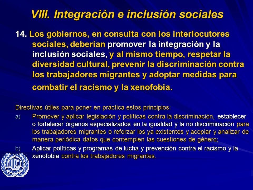 VIII. Integración e inclusión sociales