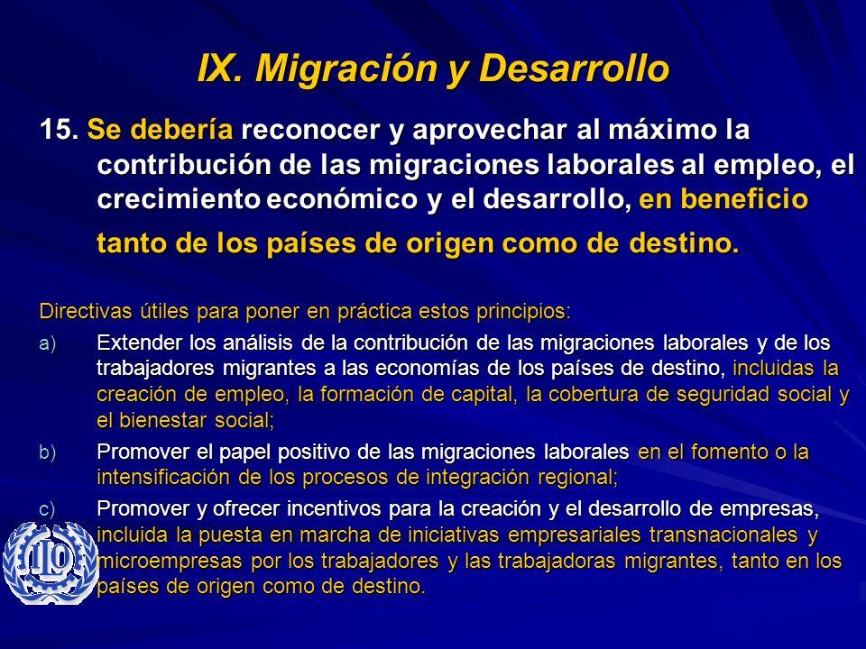 IX. Migración y Desarrollo