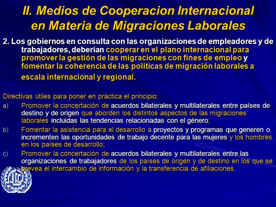 II. Medios de Cooperacion Internacional en Materia de Migraciones Laborales