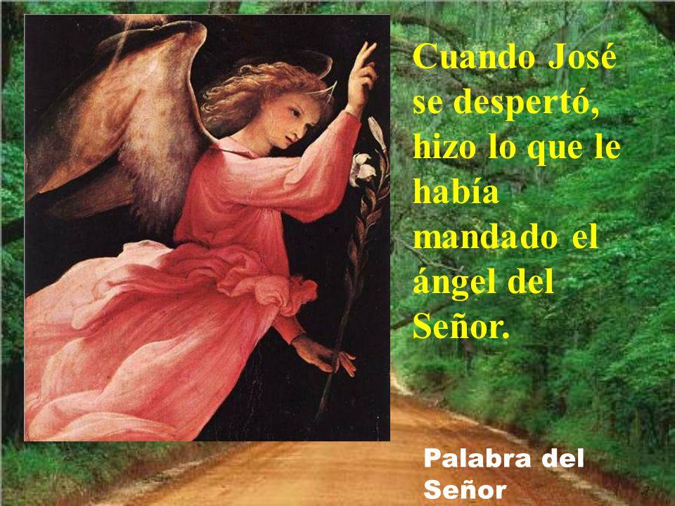 Cuando José se despertó, hizo lo que le había mandado el ángel del Señor.