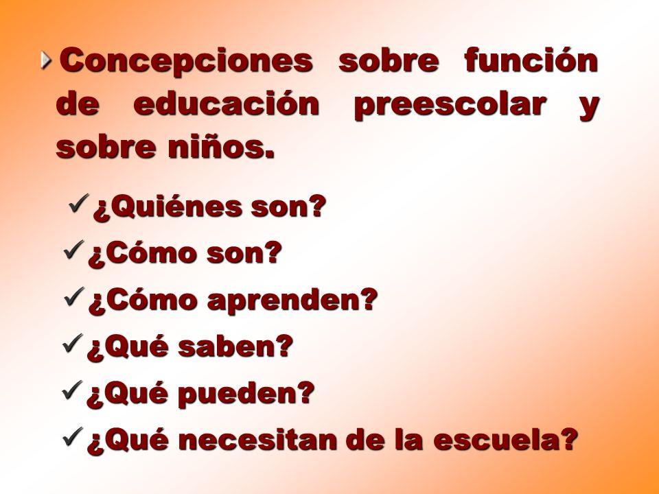 Concepciones sobre función de educación preescolar y sobre niños.
