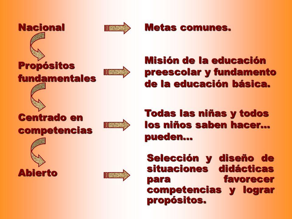 Nacional Metas comunes. Misión de la educación preescolar y fundamento de la educación básica. Propósitos fundamentales.