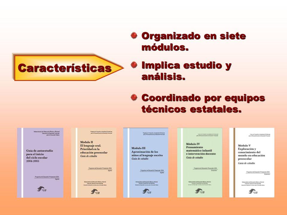 Características Organizado en siete módulos.