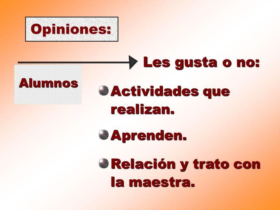 Opiniones: Les gusta o no: Actividades que realizan. Aprenden.