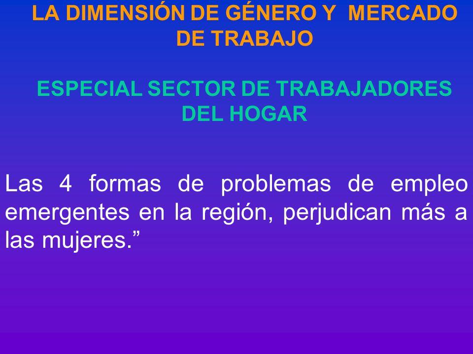 LA DIMENSIÓN DE GÉNERO Y MERCADO DE TRABAJO ESPECIAL SECTOR DE TRABAJADORES DEL HOGAR