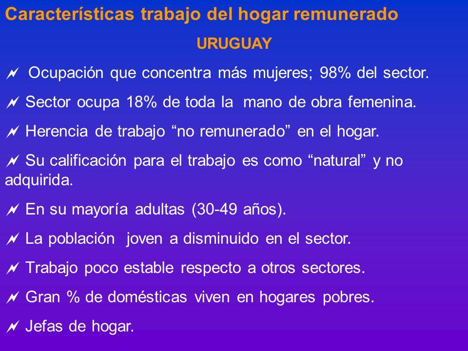 Características trabajo del hogar remunerado