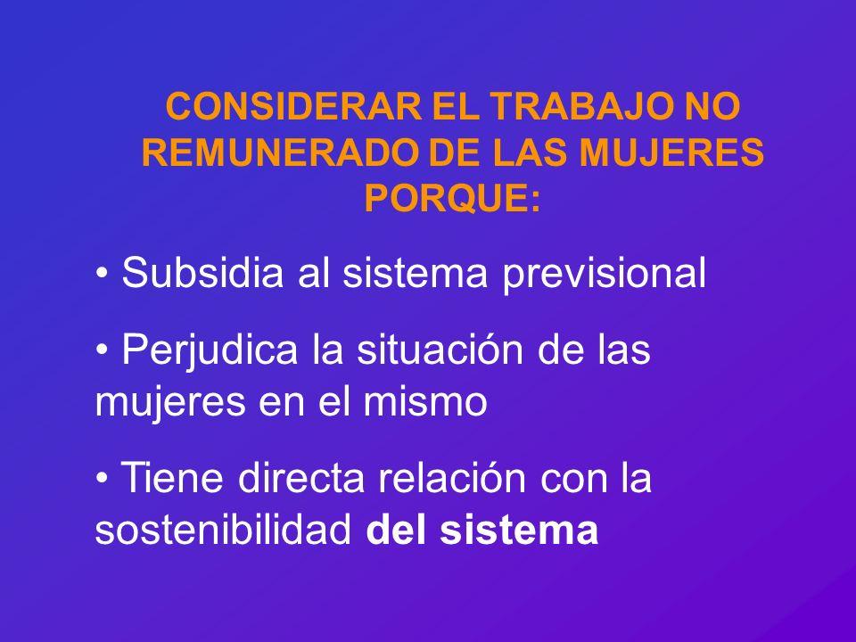 CONSIDERAR EL TRABAJO NO REMUNERADO DE LAS MUJERES PORQUE: