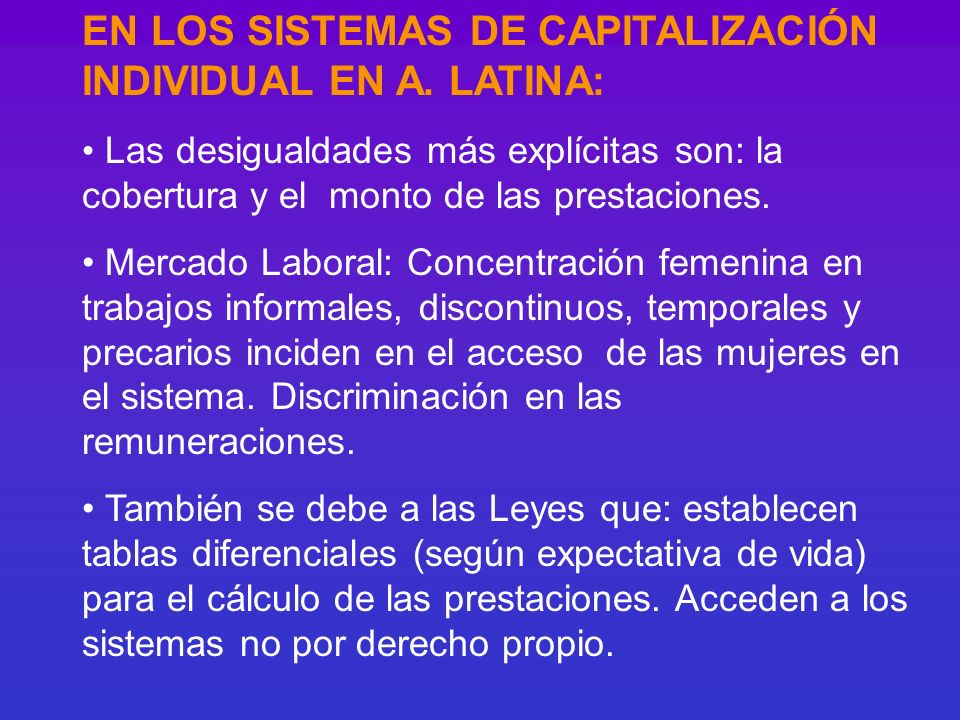 EN LOS SISTEMAS DE CAPITALIZACIÓN INDIVIDUAL EN A. LATINA: