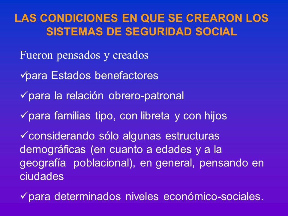 LAS CONDICIONES EN QUE SE CREARON LOS SISTEMAS DE SEGURIDAD SOCIAL