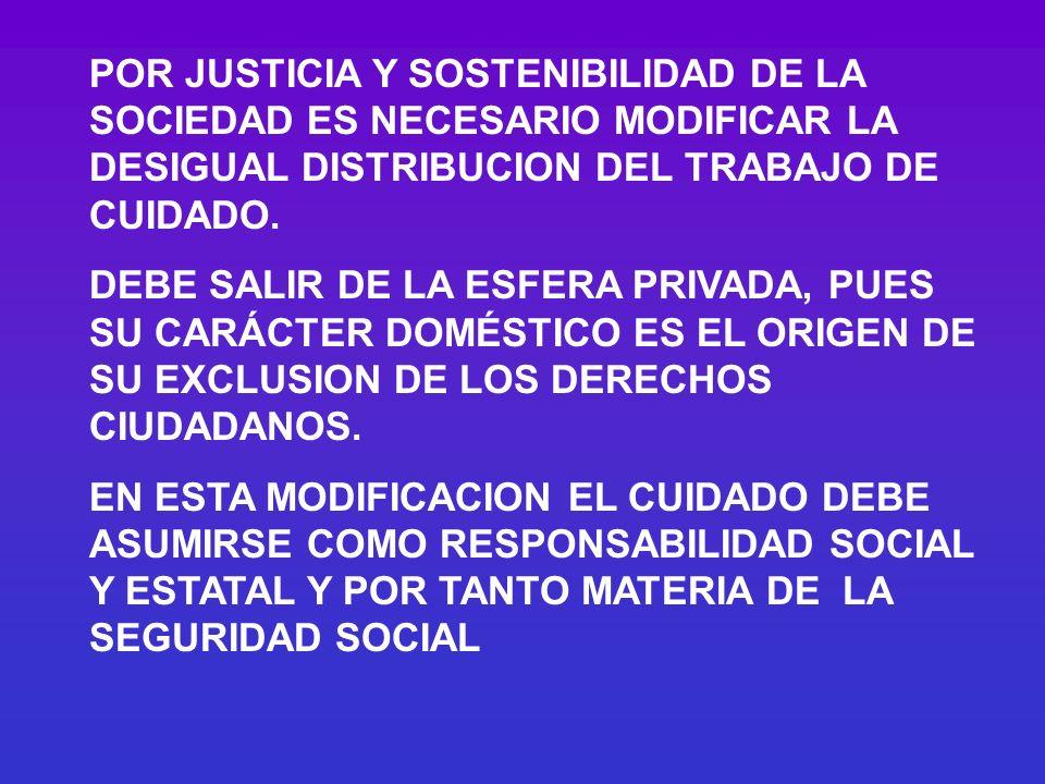 POR JUSTICIA Y SOSTENIBILIDAD DE LA SOCIEDAD ES NECESARIO MODIFICAR LA DESIGUAL DISTRIBUCION DEL TRABAJO DE CUIDADO.