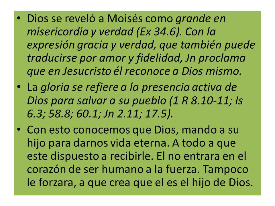 Dios se reveló a Moisés como grande en misericordia y verdad (Ex 34.6). Con la expresión gracia y verdad, que también puede traducirse por amor y fidelidad, Jn proclama que en Jesucristo él reconoce a Dios mismo.