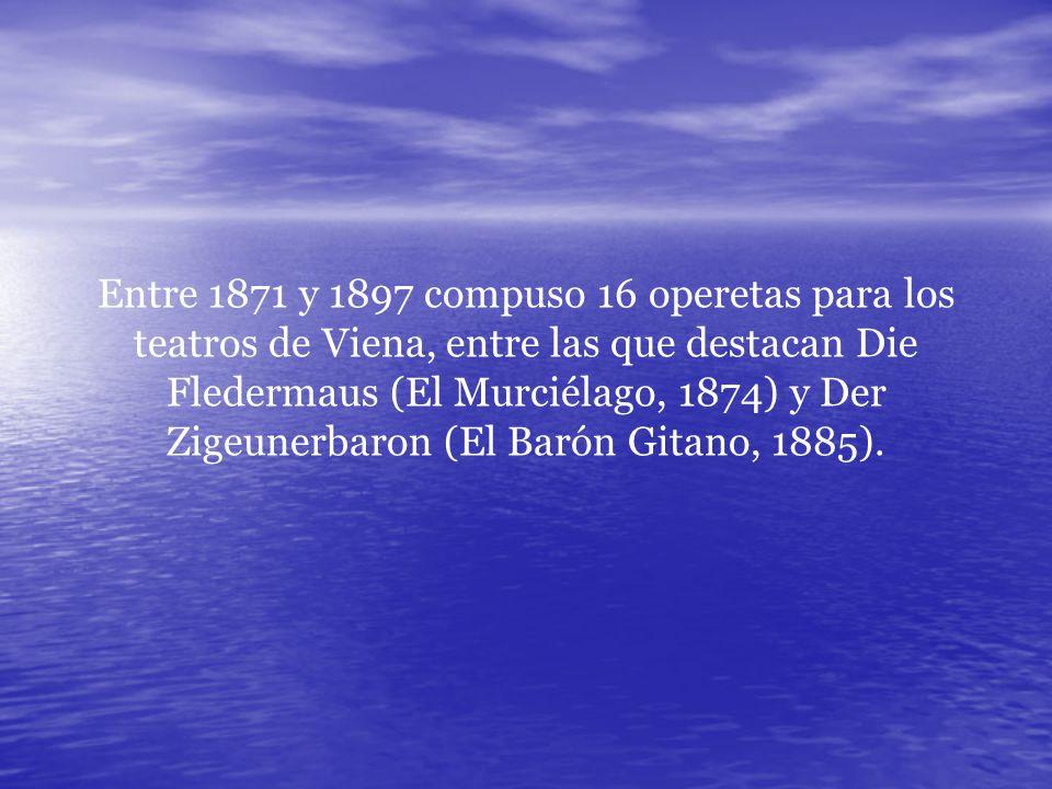 Entre 1871 y 1897 compuso 16 operetas para los teatros de Viena, entre las que destacan Die Fledermaus (El Murciélago, 1874) y Der Zigeunerbaron (El Barón Gitano, 1885).