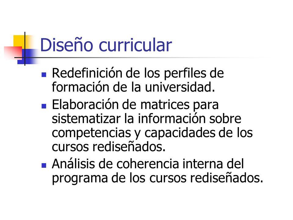 Diseño curricular Redefinición de los perfiles de formación de la universidad.