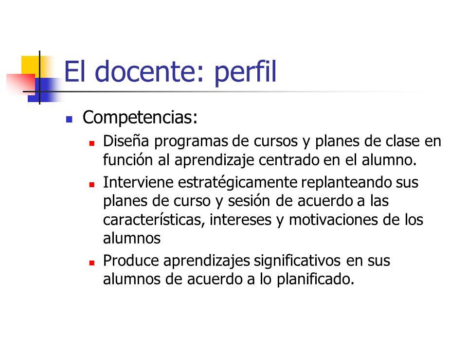 El docente: perfil Competencias: