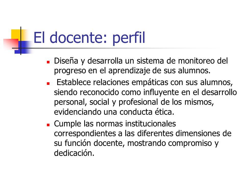 El docente: perfil Diseña y desarrolla un sistema de monitoreo del progreso en el aprendizaje de sus alumnos.
