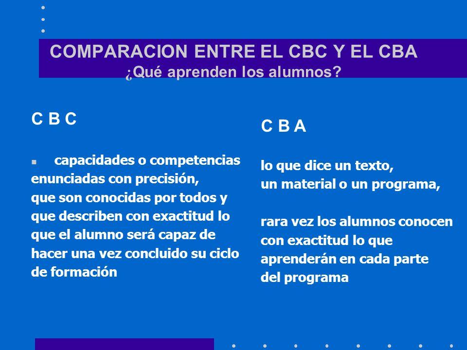 COMPARACION ENTRE EL CBC Y EL CBA ¿Qué aprenden los alumnos