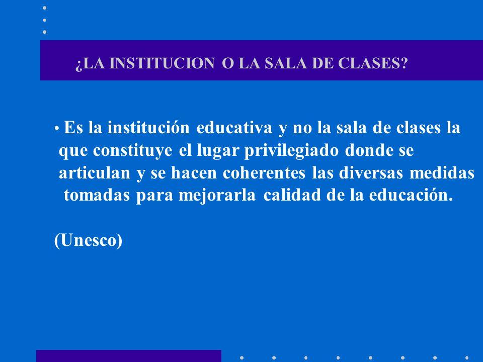 ¿LA INSTITUCION O LA SALA DE CLASES