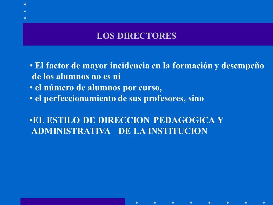 LOS DIRECTORES El factor de mayor incidencia en la formación y desempeño. de los alumnos no es ni.