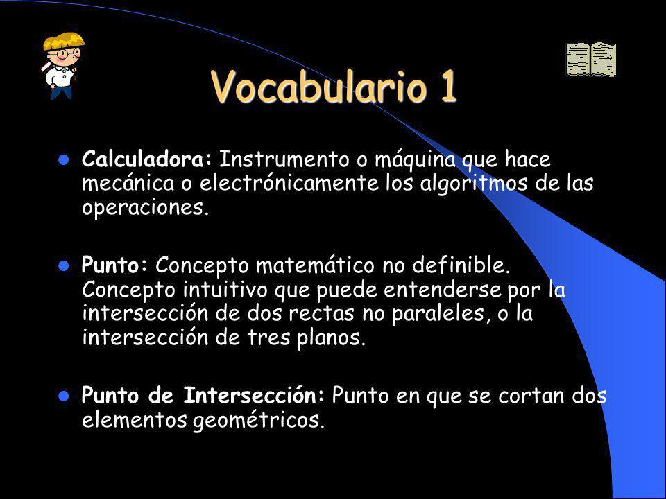 Vocabulario 1 Calculadora: Instrumento o máquina que hace mecánica o electrónicamente los algoritmos de las operaciones.