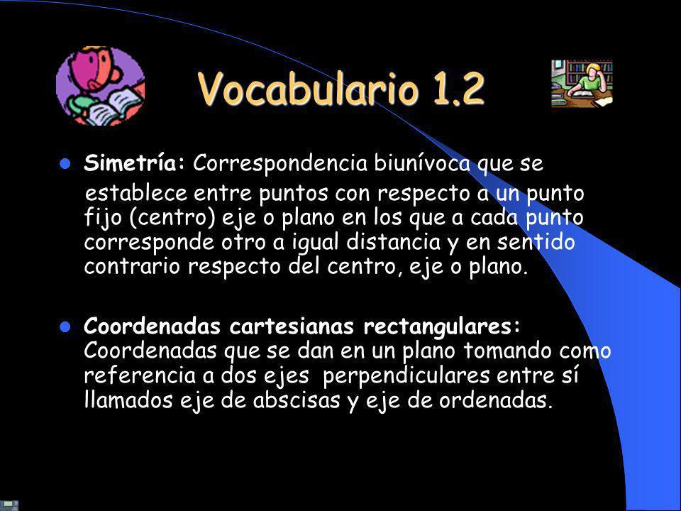 Vocabulario 1.2 Simetría: Correspondencia biunívoca que se