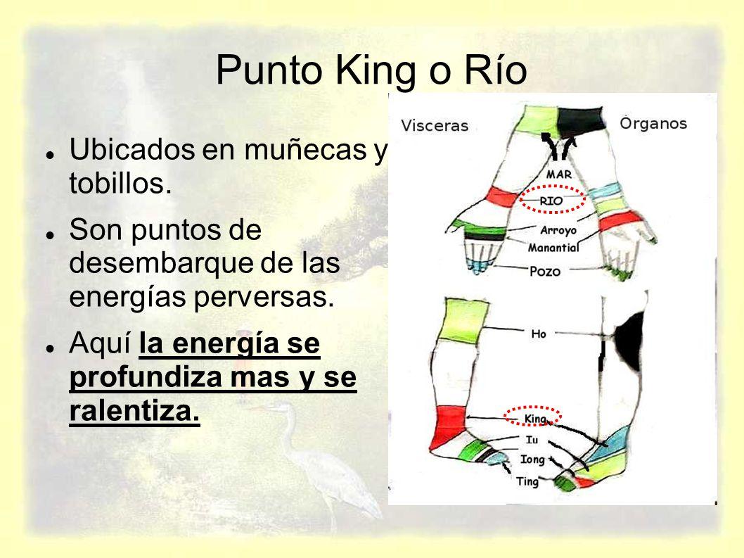 Punto King o Río Ubicados en muñecas y tobillos.