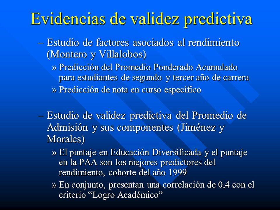Evidencias de validez predictiva